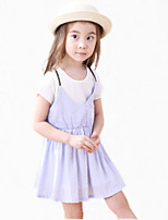 Girl's Pink / Purple Dress,Ruffle Cotton Summer
