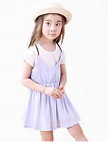 Girl's Pink / Purple Dress,Ruffle Cotton Summer