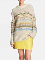 Women's Print White Pullover,Street chic Long Sleeve