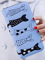 Women PU Tri-fold Wallet-White / Blue / Black
