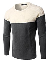 Men's Patchwork Pullover,Rayon Long Sleeve