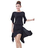 Latin Dance Outfits Women's Training Milk Fiber Side-Draped 2 Pieces Black / Blue / Purple Latin Dance Half Sleeve Natural