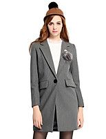 Women's Striped Gray Coat,Simple Long Sleeve Polyester