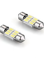 2 X  White 6 Led 5630 Smd Festoon Interior Dome Bulb Light 31Mm