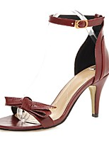 Zapatos de mujer-Tacón Stiletto-Tacones / Tira en el Tobillo-Sandalias-Boda / Vestido / Fiesta y Noche-Semicuero-Negro / Rojo / Almendra