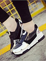 Women's Shoes Zipper PU Wedge Heel Comfort / Round Toe Loafers Outdoor / Casual Black / Red