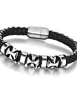 2016 Genuine Leather Cross Stainless Steel Bracelets & Bangles Hiphop Mens Bracelet