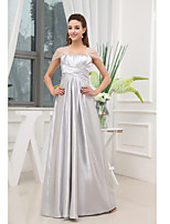 Formal Evening Dress-Silver A-line Off-the-shoulder Floor-length Charmeuse