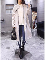 Women's Solid Black / Brown / Gray Coat,Simple Long Sleeve Polyester