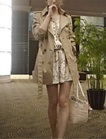 Women's Solid Brown Trench Coat,Street chic Long Sleeve Cotton