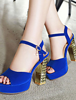 Women's Shoes Leatherette Chunky Heel Peep Toe Sandals Outdoor / Dress / Casual Black / Blue / Red