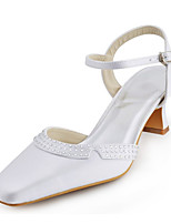 Women's Wedding Shoes Heels / Square Toe Sandals Wedding / Party & Evening / Dress Ivory / White / Silver