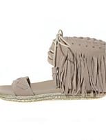 Women's Shoes Suede Flat Heel Comfort / Open Toe Sandals Outdoor / Casual Black / Brown / Khaki