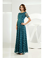Floor-length Lace Bridesmaid Dress-Dark Green A-line Scoop