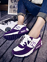 Women's Shoes Leatherette Flat Heel Comfort Fashion Sneakers Outdoor / Casual / Athletic Black / Purple
