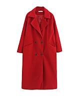 Women's Solid Blue / Red / Brown / Gray Coat,Simple Long Sleeve Wool