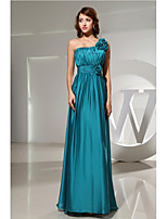 Floor-length Charmeuse Bridesmaid Dress-Jade A-line One Shoulder
