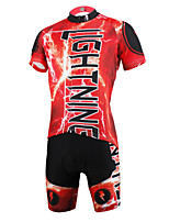 PaladinSport Men 's Cycyling Jersey + Shorts Bike Suits for DT616  red lightning