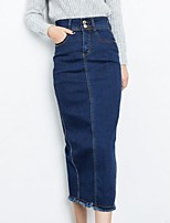Women's Causal Solid Denim Shift Above Knee Skirts