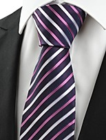 KissTies Men's New Striped Purple White Microfiber Tie Necktie For Wedding With Gift Box