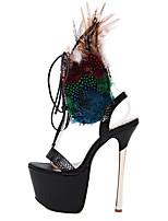 Chaussures Femme-Habillé / Soirée & Evénement-Noir / Bordeaux-Talon Aiguille-Talons / A Plateau / Bout Ouvert-Sandales-Similicuir