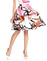 Women's Print Pink Skirts,Casual / Day Knee-length