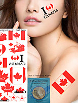 5Pcs  National Flag  Temporary Tattoos +1Pcs Cleansing Wipes  China  Canada   U.S.A   The Republic Of Korea Design