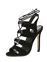 Women's Shoes Stiletto Heel / Ankle Strap / Open Toe Sandals Wedding / Office & Career / Party & Evening / DressBlack /