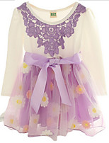 Girl's Purple Dress Cotton Spring / Fall