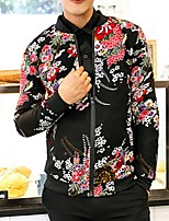 Men's Long Sleeve Jacket,Polyester Casual Floral
