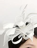 Capacete Fascinador Casamento / Ocasião Especial Penas / Linho / Rede Mulheres Casamento / Ocasião Especial 1 Peça