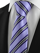 New Striped Grey Purple Mens Tie Suits Necktie Party Wedding Holiday Gift KT1004