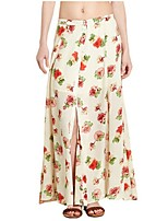 Women's Floral Beige Skirts,Casual / Day Maxi