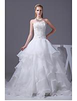 웨딩 드레스-아이보리(색상은 모니터에 따라 다를 수 있음) A 라인 채플 트레인 튜브탑 오르간자 / 사틴