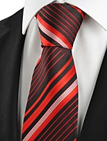 KissTies Men's New Striped Red Black Microfiber Tie Necktie For Wedding Party Holiday With Gift Box