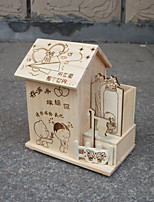 Creative Personality With Brush Pot Fine Arts And Crafts House Money Tube Wooden Piggy Bank(Design Is Random)