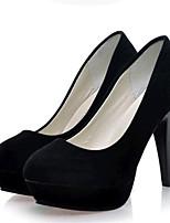 Calçados Femininos-Saltos-Saltos-Salto Agulha-Preto / Vermelho-Flanelado-Festas & Noite