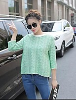 Women's Color Block Gray / Green Pullover,Simple ¾ Sleeve