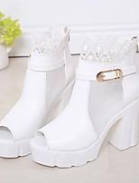 Calçados Femininos-Sandálias-Saltos / Peep Toe-Salto Grosso-Preto / Branco-Courino-Ar-Livre / Escritório & Trabalho / Casual