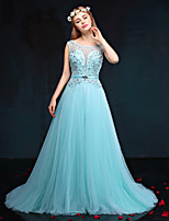 Formal Evening Dress-Ocean Blue A-line Jewel Court Train Taffeta / Tulle