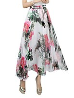 Women's Floral White Skirts,Casual / Day / Beach Maxi
