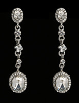 Vintage Women's  Earrings Crystal Diamond  Silver Earring For Wedding Bridal