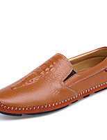 Men's Shoes Outdoor / Office & Career / Casual Leather Loafers Black / Blue / Brown / Yellow / White