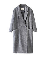 Women's Solid Gray Coat,Simple Polyester