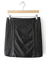 Women's Solid Black Skirts,Simple Mini