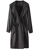 Women's Solid Beige / Black Trench Coat,Simple / Street chic Long Sleeve Cotton