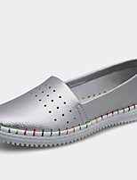 Women's Shoes Nappa Leather Flat Heel Comfort / Ballerina Loafers Office & Career / Dress /Casual Pink/White/Silver