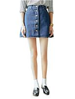 De las mujeres Faldas-Sobre la rodilla Casual Microelástico-Nailon