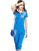 Hoodies Aux femmes Sportif Grandes Tailles / Actif Imprimé Bleu / Gris Polyester