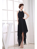 Cocktail Party Dress-Black Sheath/Column Jewel Tea-length Chiffon